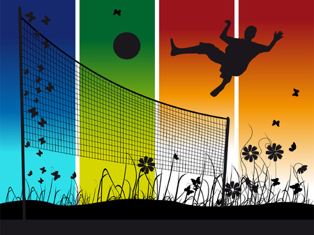 People play on volleyball on nature, summer Vector