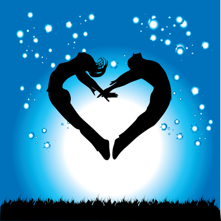 friendship day: Silhouette of couple in the form of heart on a background of the night sky