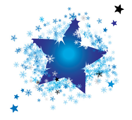 wrapped up: Vector  background, star wrapped up in snowflakes