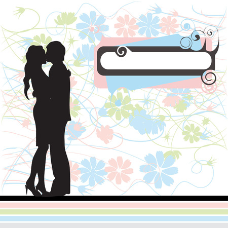 Couple, black silhouette, valentine card, retro style Stock Vector - 2643299
