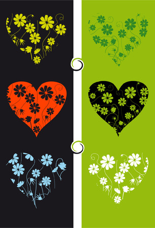 Floral background, shape of heart Vector