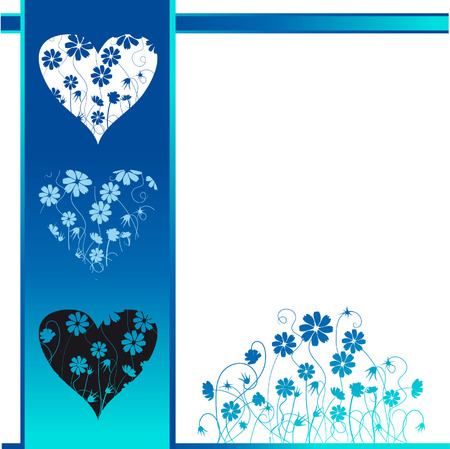 Valentine card, retro style, floral background Vector