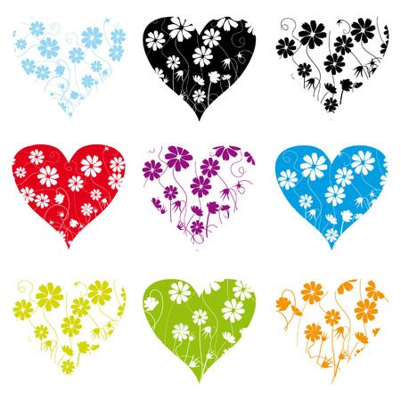 painted image: Collection of shape patterns, floral background Illustration