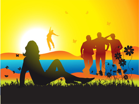 Beautiful woman on nature, friends, sunset Vector