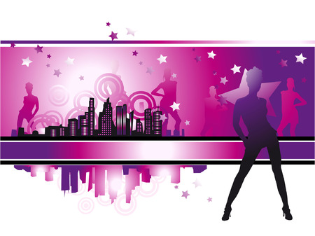 business life line: Cityscape, urban frame, fashion girls, night life