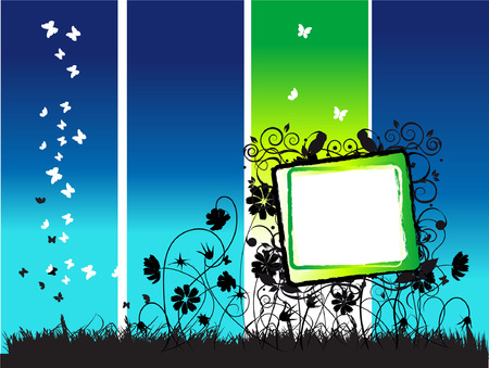 Abstract summer frame, flowers and butterflies, night Stock Vector - 2704181