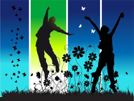 boy jumping: Midnight parte, los j�venes felices los pueblos  Vectores