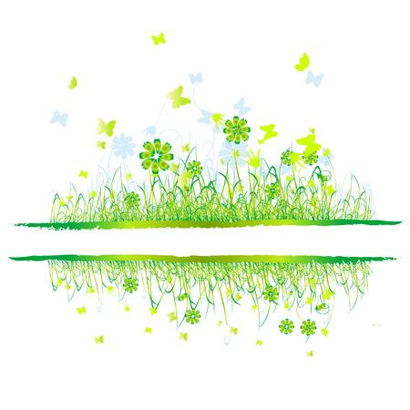 Grass green, summer background, flowers and butterflies Vector