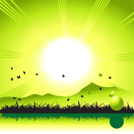 Landscape, nature, grass and butterflies, sun Vector