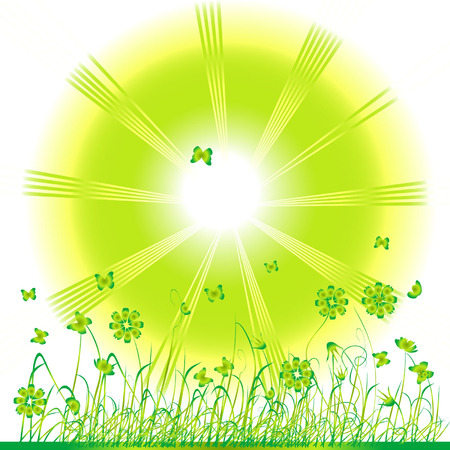 Grass green, summer background, flowers and butterflies Stock Vector - 2734180