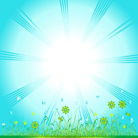 Grass green, summer background, flowers and butterflies Stock Vector - 2734181
