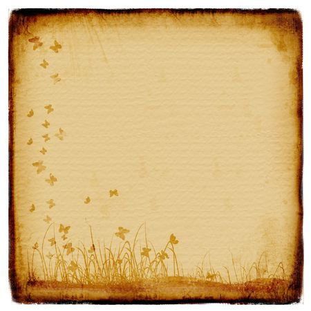Grunge background, old paper, pattern, flowers Stock Photo - 2734218