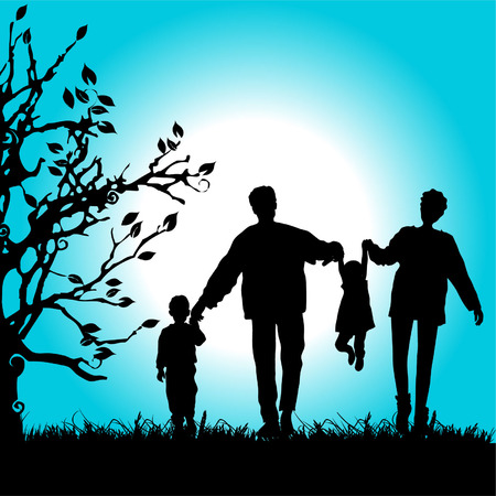 Happy family walks on nature, sunset Illustration
