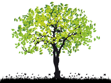 Tree silhouette old, grass, summer Stock Vector - 2773610