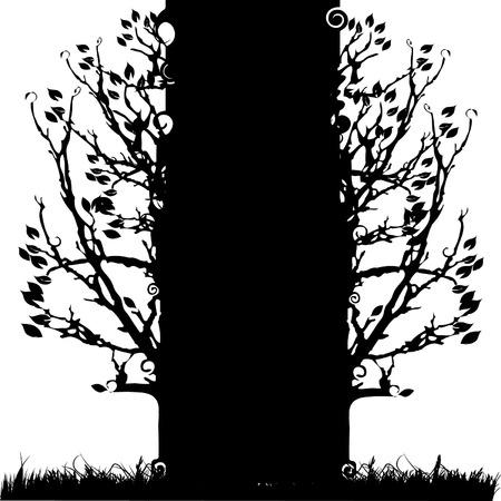 hoog gras: Boom silhouet oud, seizoen, witte en zwarte achtergrond
