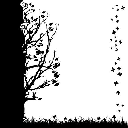 Tree Silhouette alt, Saison, weißen und schwarzen Hintergrund