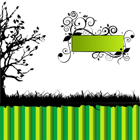 Tree silhouette, green background, frame with place for your text Vector