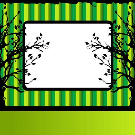 Tree silhouette, green background, frame with place for your text Stock Vector - 2773586