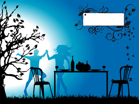 Tree silhouette,  dinner, couple, frame for your text Vector