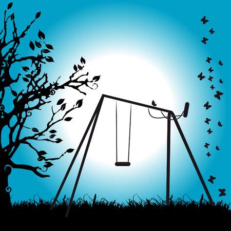 Tree silhouette, summer night, meadow Vector