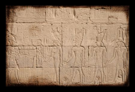 Egyptian sings on the wall, grunge background photo