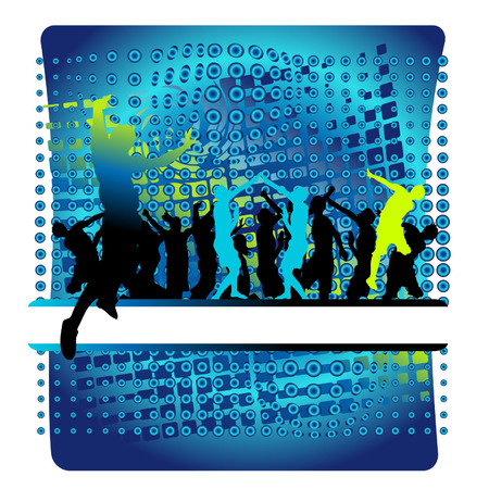 teenagers only: Club life, people dance, flowing frame Illustration