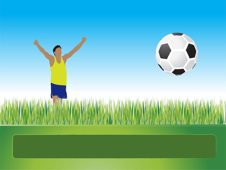 People play football on grass, goal, vector illustration Vector