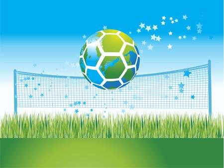 world map on soccer ball, nature, vector illustration Vector