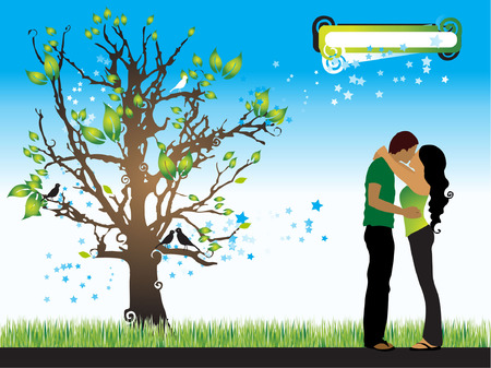 Tree silhouette, couple, spring, vector illustration Vector
