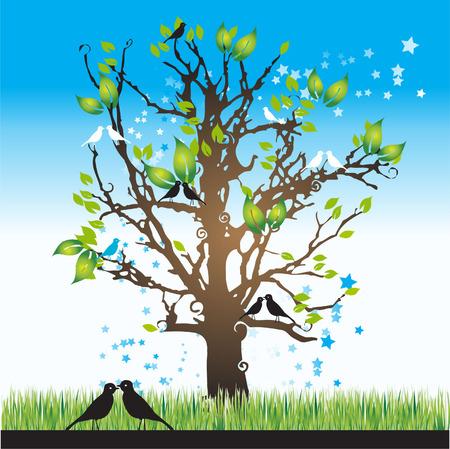 Tree silhouette spring, birds, vector illustration Vector