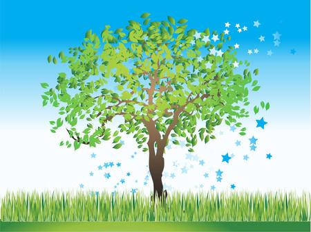 Tree silhouette old, grass, summer, vector illustration Stock Vector - 2831832