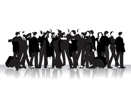 Group of business peoples, black silhouettes Illustration