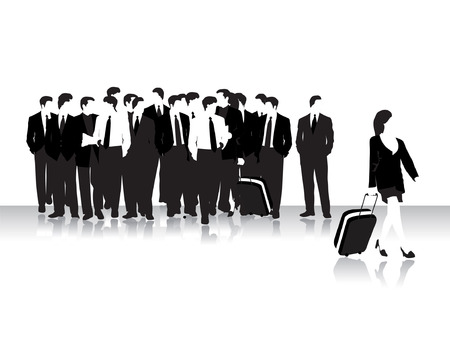 Group of business peoples in airport, black silhouettes Vector