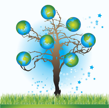 Tree with globes, spring, vector illustration Stock Vector - 2887255