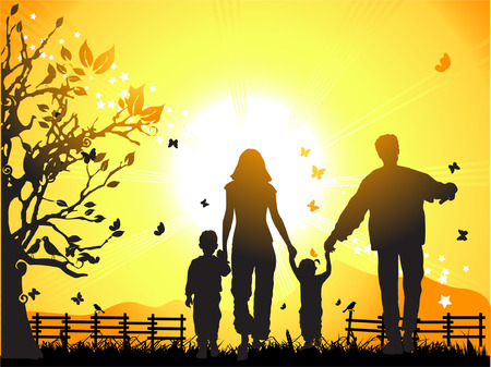 Happy family walks on nature, sunset Vector
