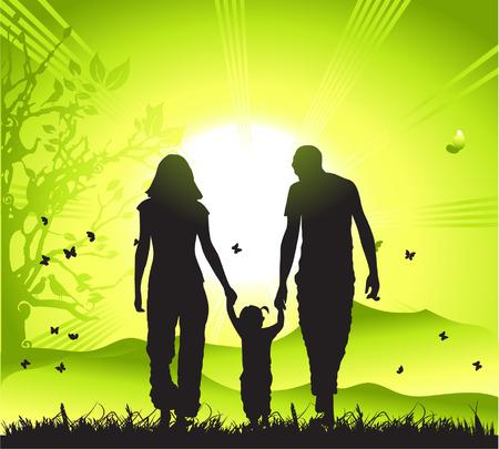 buiten sporten: Gelukkige familie wandelingen op de natuur, sunset  Stock Illustratie