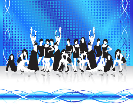 Fashion girls silhouettes, flowing background Vector
