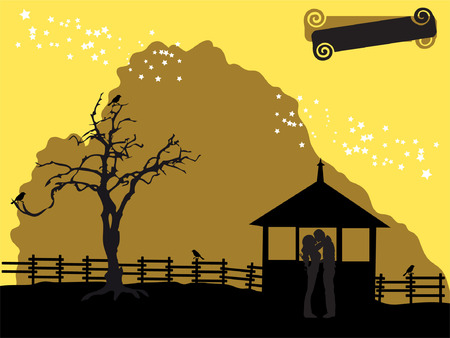 Nature silhouette, house, old tree Vector