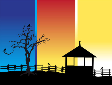 Old tree, house, nature silhouette Vector