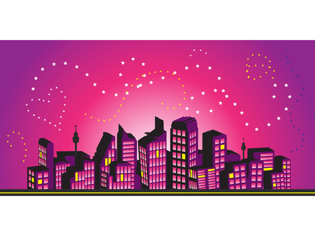 city silhouette: Cityscape frame, silhouettes of houses Illustration