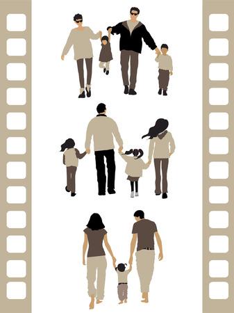 family clipart: Silhouette popoli: 3 famiglia  Vettoriali