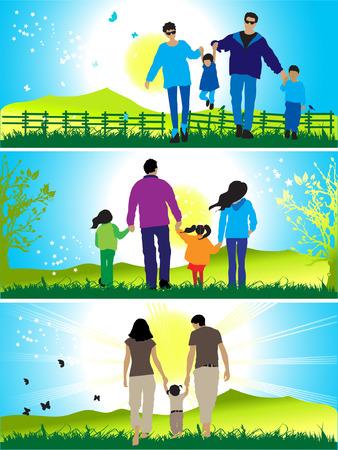 Happy family walks on nature Vector