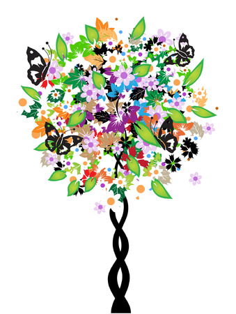 Floral tree, butterflies Stock Vector - 3041901