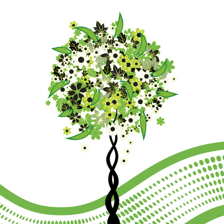 Floral tree green on background wave Vector