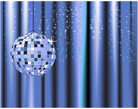 Disco ball, curtains, celebration Vector