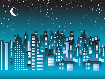 megapolis: Cityscape night, silhouettes of houses