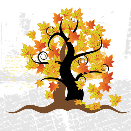 Old tree, grass, autumn, grunge background Stock Vector - 3093042