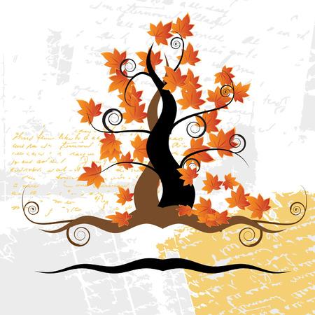 Old tree, grass, autumn, grunge background Vector