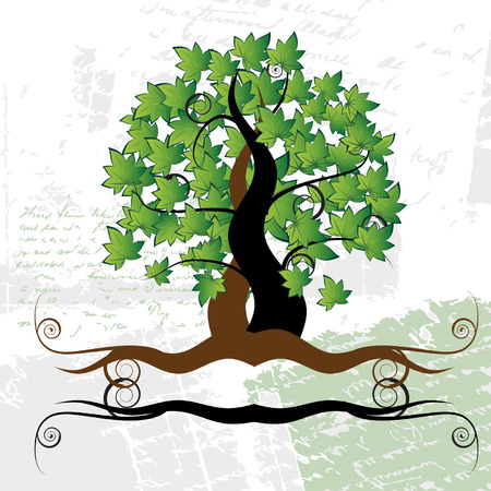Old tree, grass, summer, grunge background Illustration