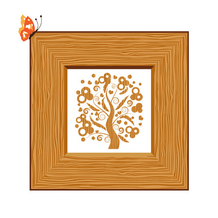 Wooden frame, picture Vector